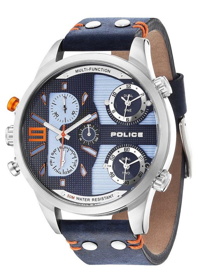 Police Multifunktionsuhr, mit drei Zeitzonen, »Copperhead, P14374JS-03« in blau