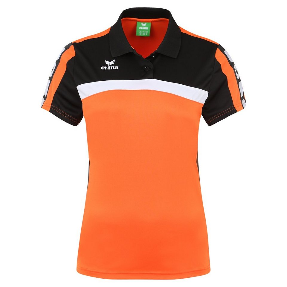 ERIMA 5-CUBES Poloshirt Damen in orange/schwarz/weiß