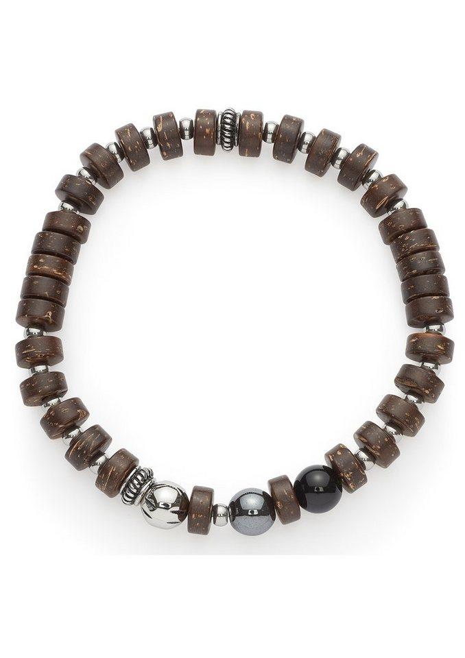 Jewels by Leonardo Armband mit Glasperlen, »men comodo, 015538« in silberfarben/braun