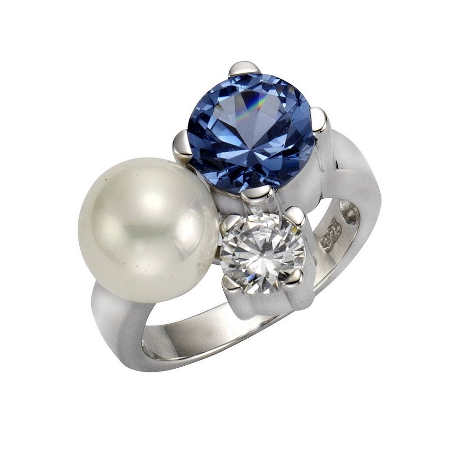 Zeeme Ring »925/- Sterling Silber Perle mit Zirkonia« in weiß
