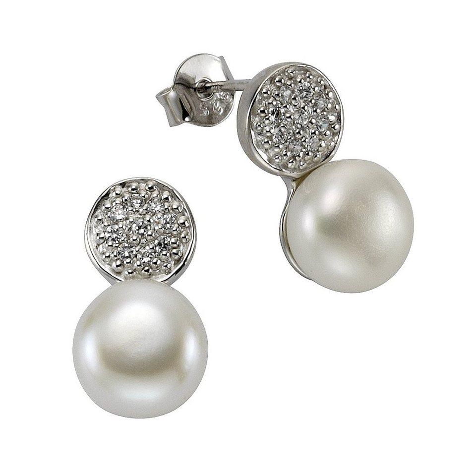 Zeeme Ohrstecker »925/- Sterling Silber Perle Zirkonia weiß« in weiß