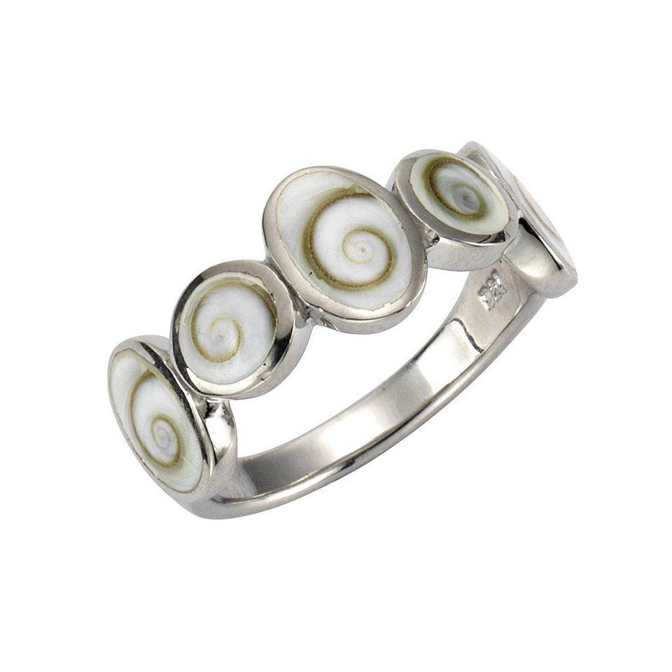 Zeeme Ring »925/- Sterling Silber Muschel weiß« in weiß