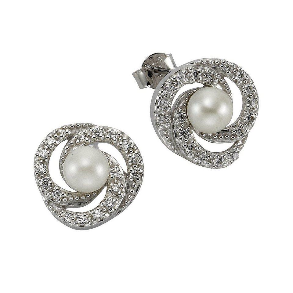 Zeeme Ohrstecker »925/- Sterling Silber Perle mit Zirkonia« in weiß
