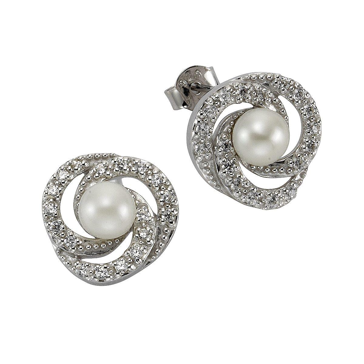 Zeeme Ohrstecker »925/- Sterling Silber Perle mit Zirkonia«