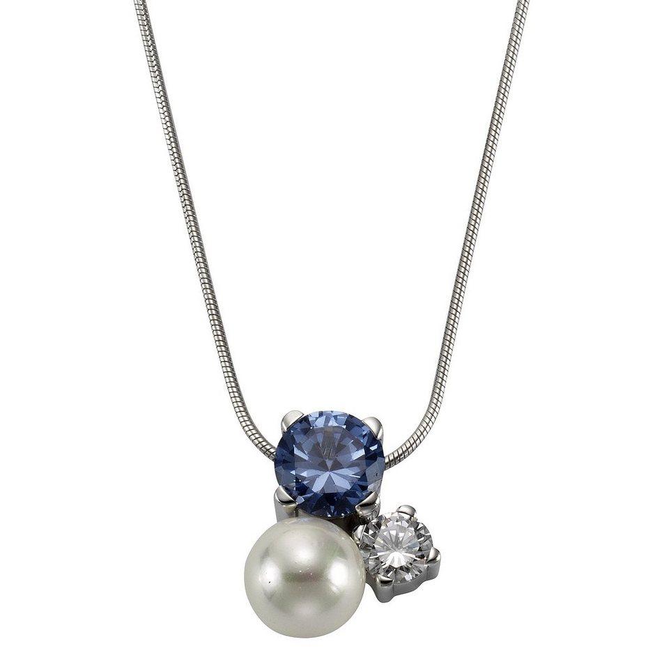 Zeeme Anhänger mit Kette »925/- Sterling Silber Perle Zirkonia« in weiß
