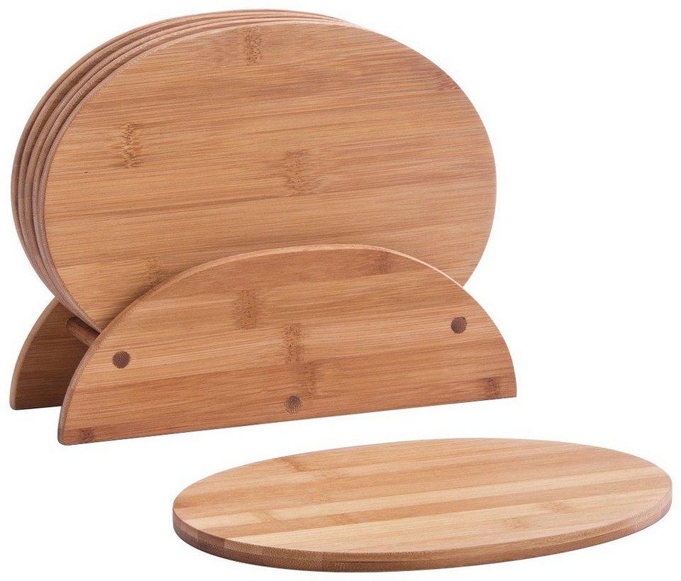Schneidebrett mit Brettchenständer »Bamboo«, 7-tlg., oval in braun / holzoptik