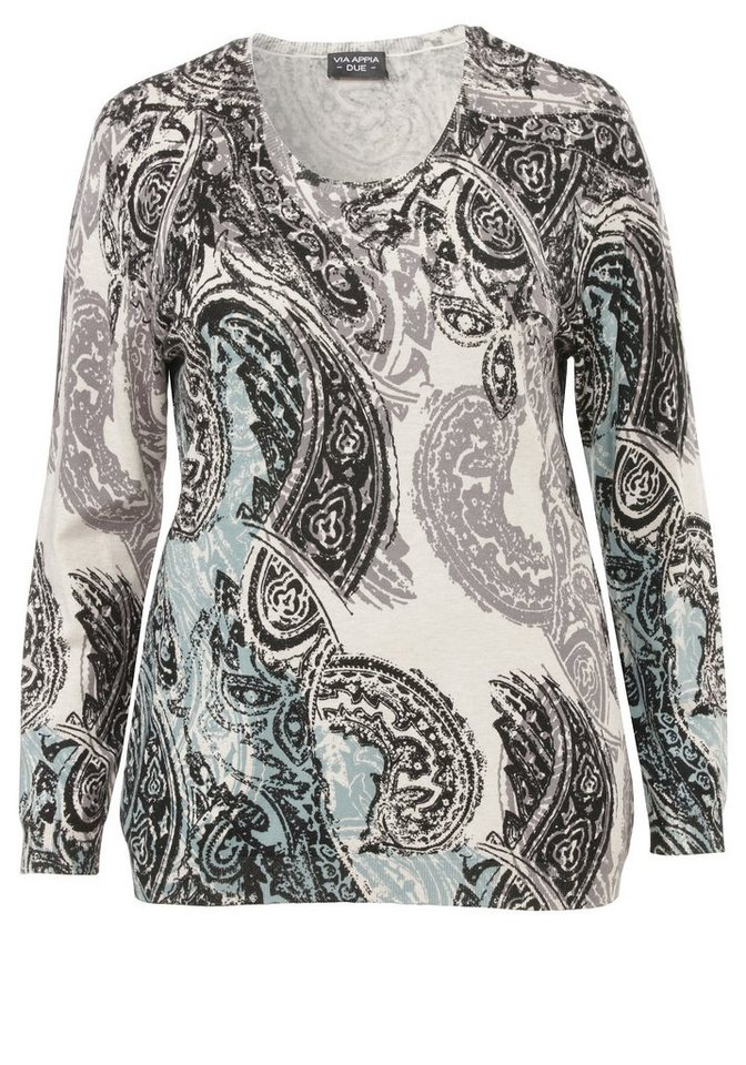 VIA APPIA DUE Pullover »Paisley Deluxe« in PETROL