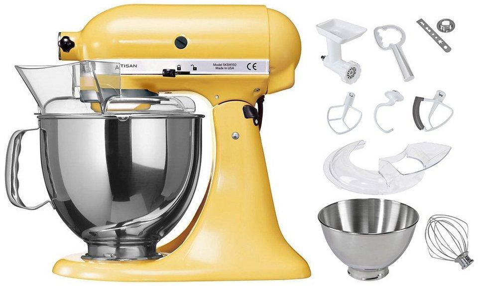 KitchenAid Küchenmaschine 5KSM150PSEMY Artisan, mit Sonderzubehör im Wert von ca. 214,-€ in pastellgelb