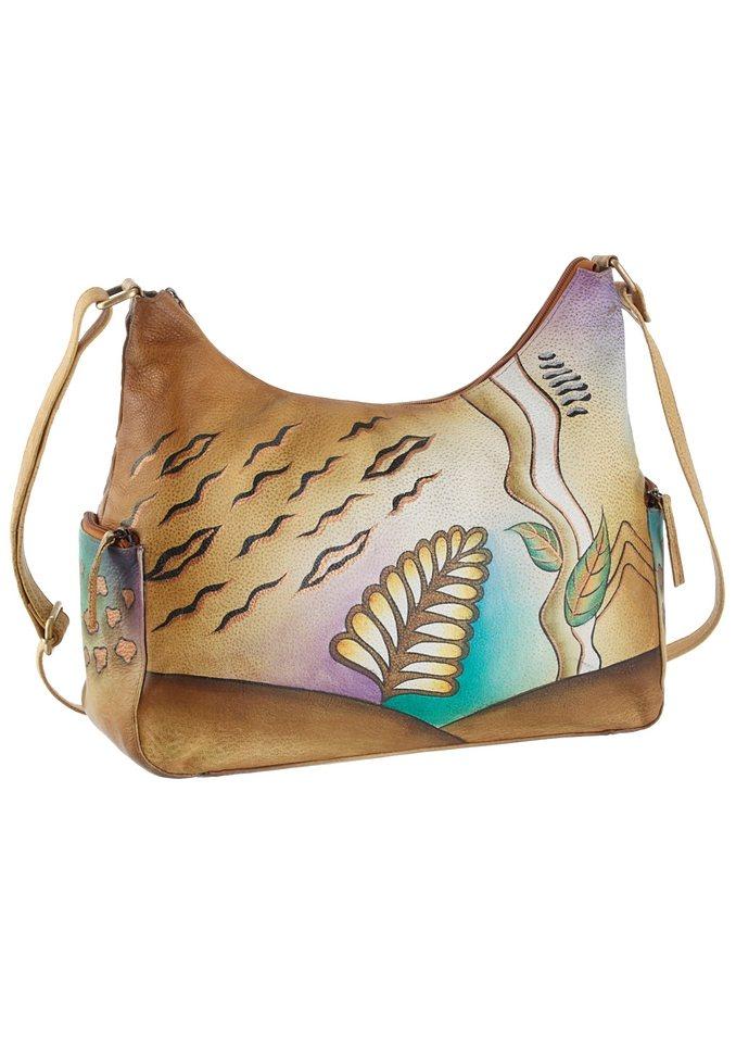 Art & Craft Schultertasche aus handbemaltem Leder in natur-blätte