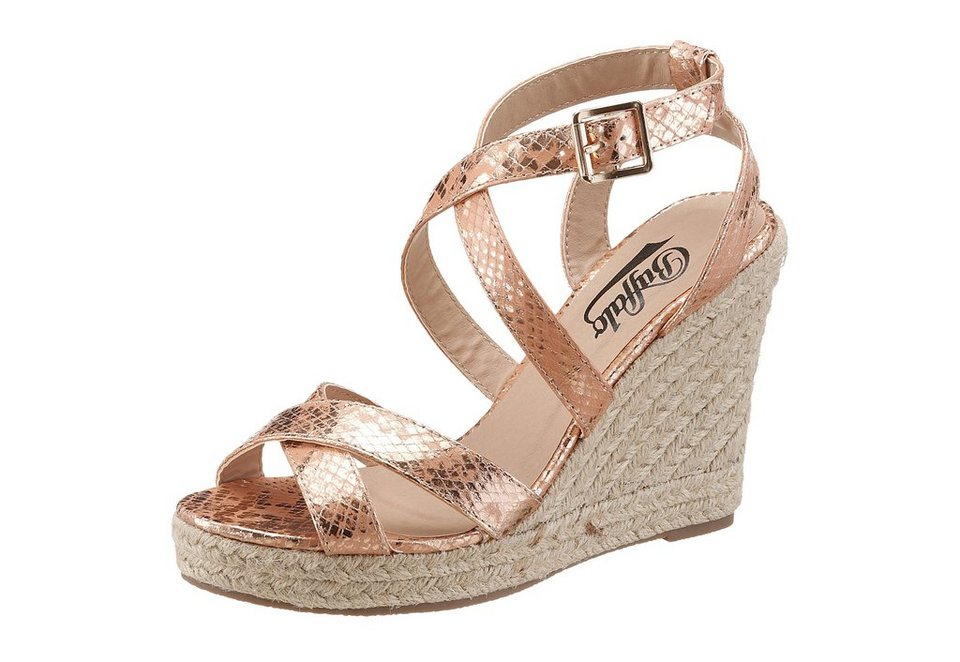 Buffalo High Heel Sandalette im Metallic Snake Look in rose