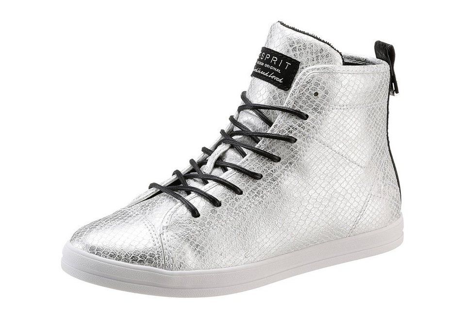 Esprit Sneaker im Metallic-Look in silberfarben