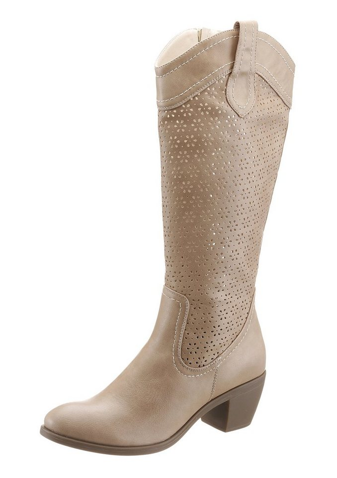 City Walk Sommerstiefel mit Cut Out Muster in sandfarben