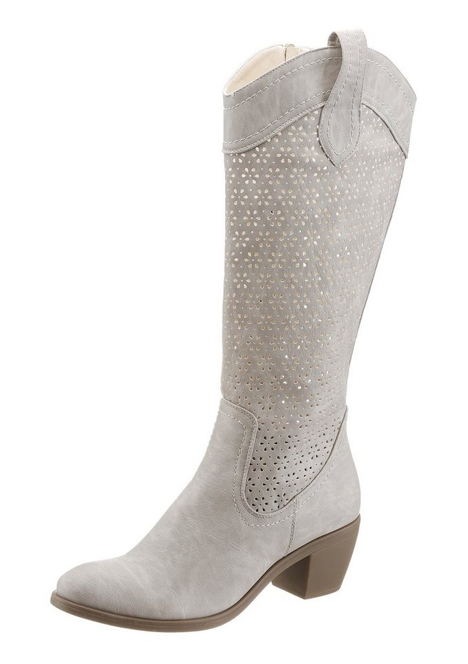 City Walk Sommerstiefel mit Cut Out Muster in grau
