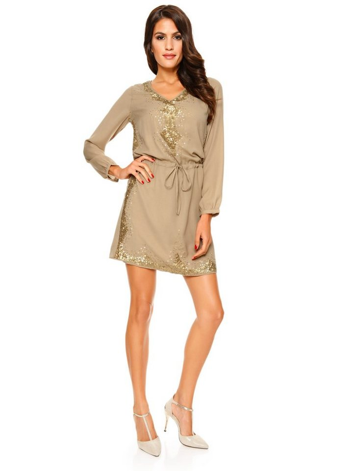 Chiffonkleid in taupe