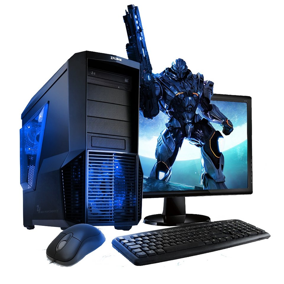 VCM Gaming PC Set / Intel Core i3-6100 (2x 3.7 GHz) / Intel HD / Win in schwarz / blau