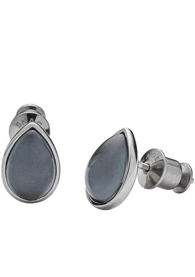 Skagen Paar Ohrstecker mit Glassteinen, »Sea Glass, SKJ0772040« in silberfarben/blau
