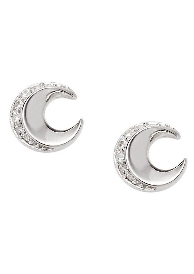 Fossil Paar Ohrstecker Mond mit Zirkonia, »Sterling Silver, JFS00364040« in Silber 925