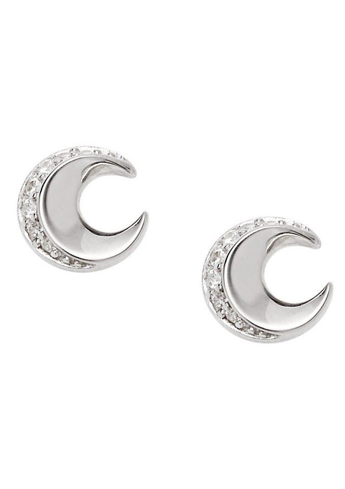 Fossil Paar Ohrstecker Mond mit Zirkonia, »Sterling Silver, JFS00364040«