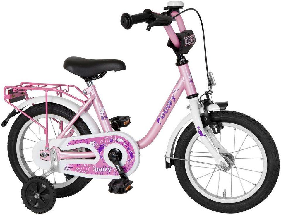 Kinderfahrrad Mädchen »Dolfy«, 14 Zoll, 1 Gang, Rücktrittbremse in rosa