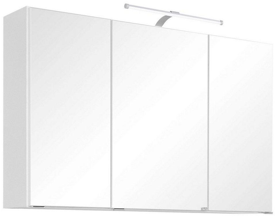 Held Möbel Spiegelschrank »Florida« Breite 100 cm, mit LED-Beleuchtung in weiß