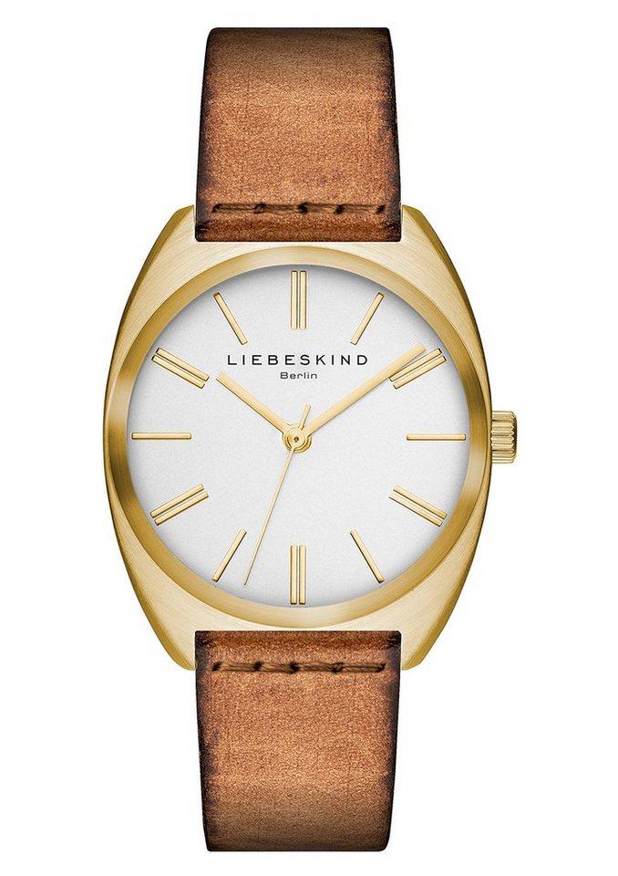 Liebeskind Berlin Armbanduhr, »VEGETABLE, LT-0028-LQ« in cognacfarben