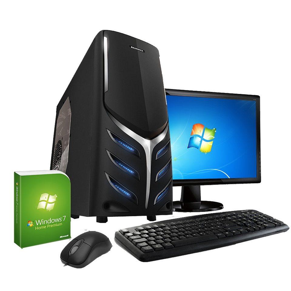 VCM Multimedia PC Set / AMD A6 7400K (2x 3,9 GHz) / AMD Radeon R5 Gr in schwarz / silbern