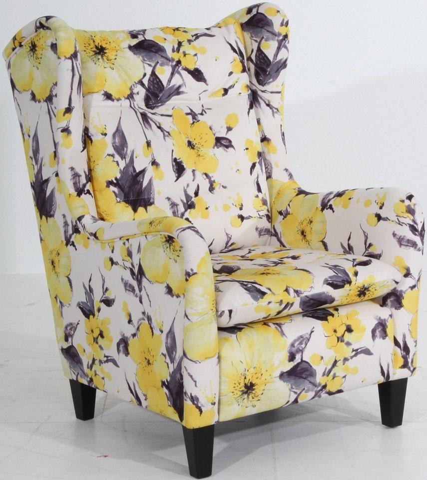 Max Winzer® Hochlehner Ohrensessel »Mindi«, mit Blumenprint, mit eleganter Steppung in gelb-geblümt