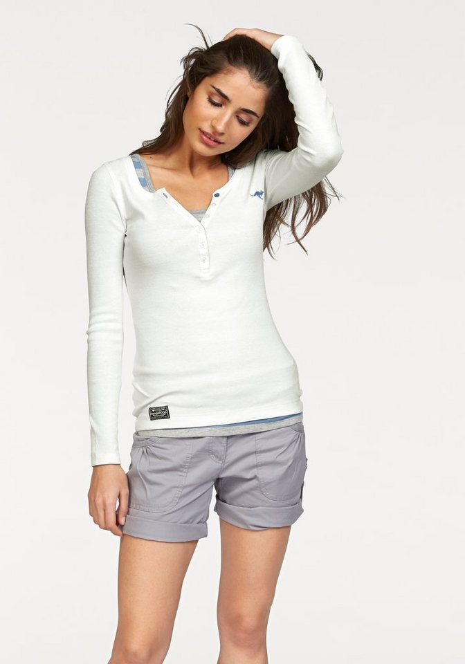 KangaROOS Langarmshirt Doppelpack mit Shirt und Top in offwhite+grau-meliert-blau-gestreift