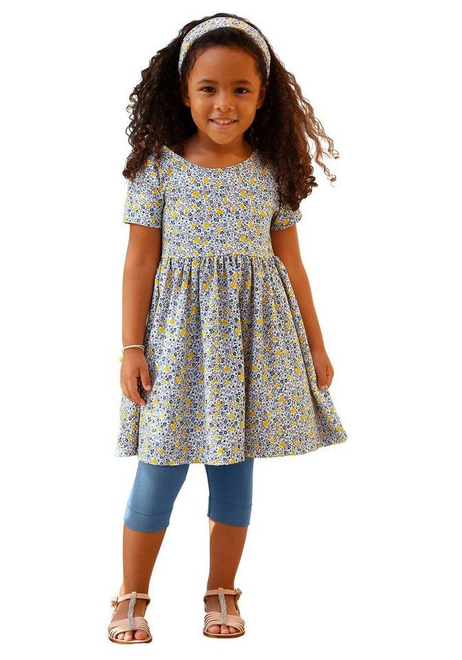 Kidoki Kleid, Leggings & Haarband (3-tlg.), für Mädchen in Blau-Bedruckt