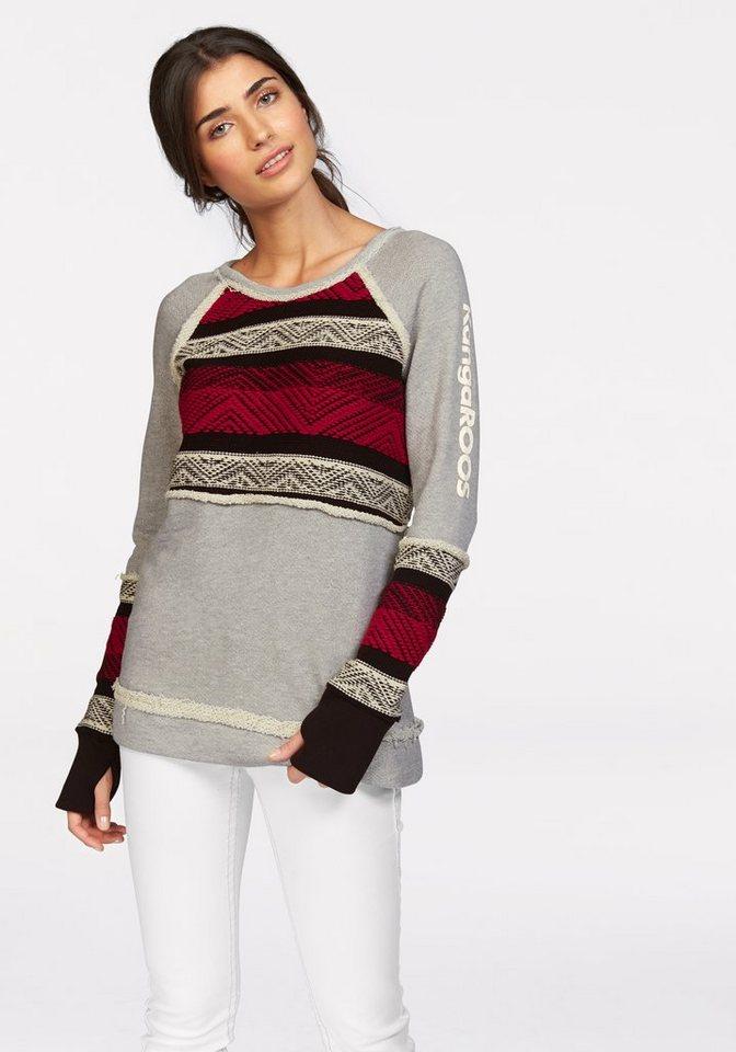 KangaROOS Sweatshirt mit konstrastfarbenen Strickeinsätzen in grau-meliert-rot-schwarz