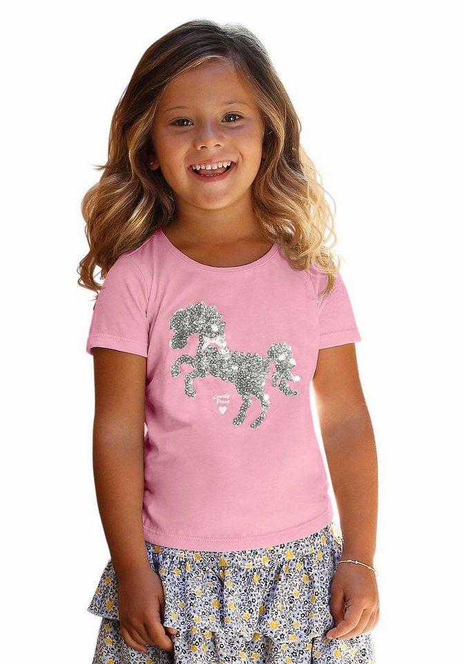 Kidoki T-Shirt mit Pailletten in pink