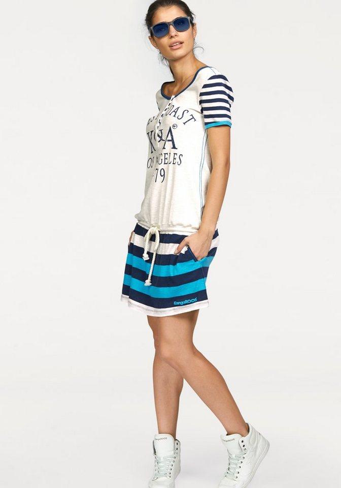 KangaROOS Jerseykleid mit Knopfleiste und regulierbarer Taille in weiß-blau