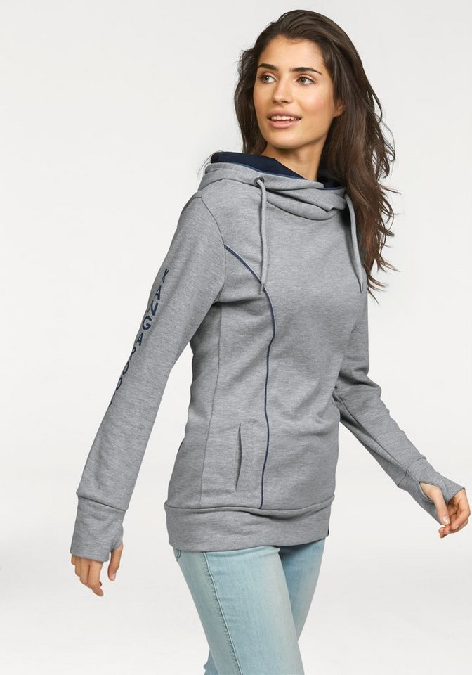 KangaROOS Kapuzensweatshirt mit lässigem Schalkragen in grau-meliert