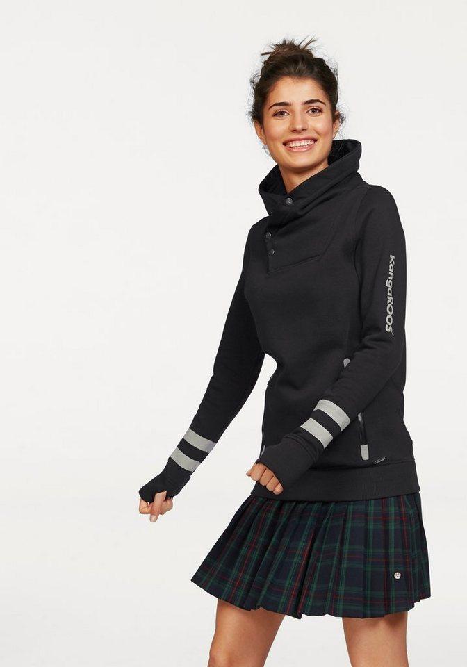KangaROOS Sweatshirt Raffinierter Kragen in schwarz