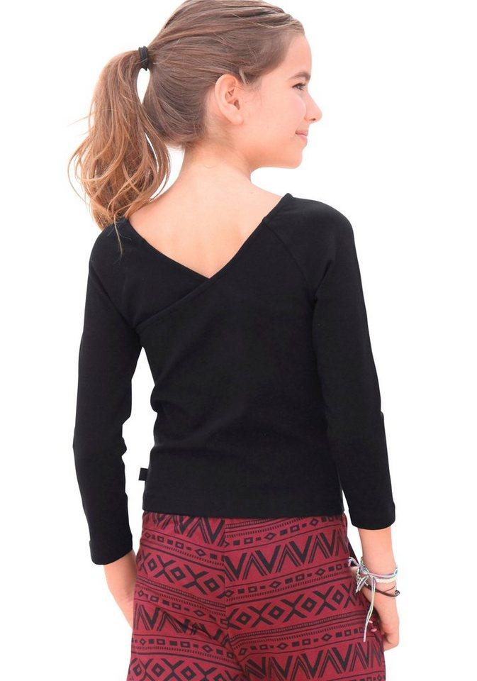 Buffalo 3/4-Arm-Shirt mit tiefem Rückenausschnitt in schwarz