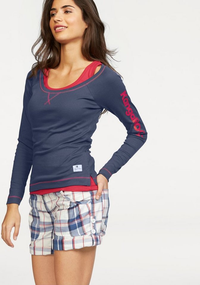 KangaROOS Langarmshirt in Kontrastfarben (Set, 2 tlg., mit Top) in pink-marine