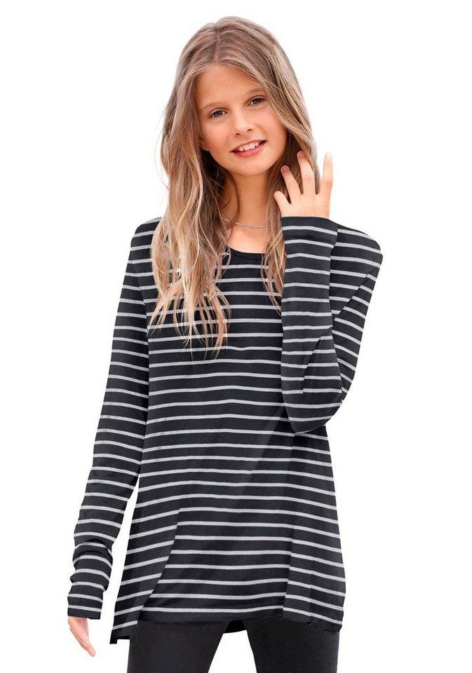 KIDSWORLD Longshirt geringelt in schwarz-weiß-gestreift