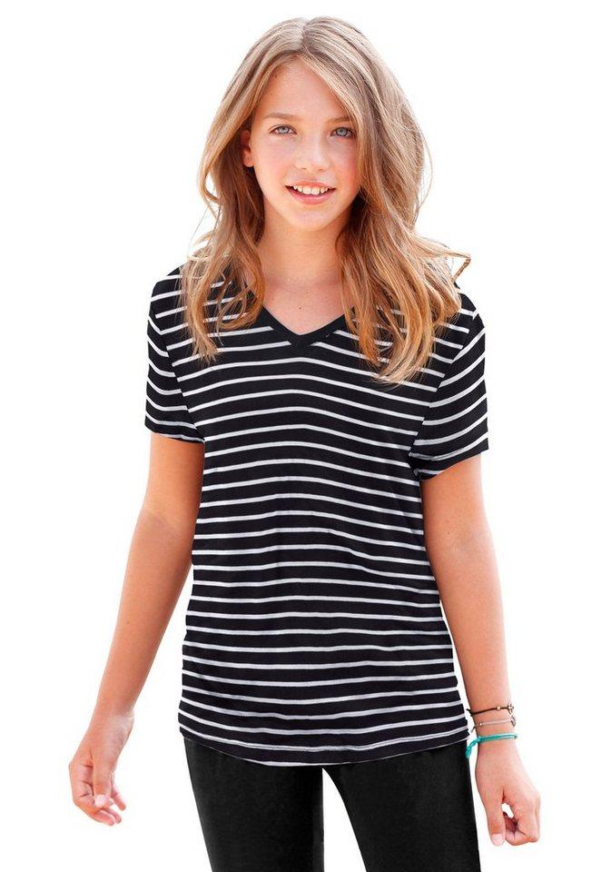 KIDSWORLD T-Shirt geringelt, für Mädchen in Schwarz-Weiß-Gestreift