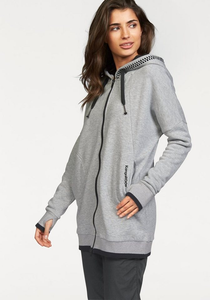 KangaROOS Kapuzensweatjacke im Oversize-Look in grau-meliert