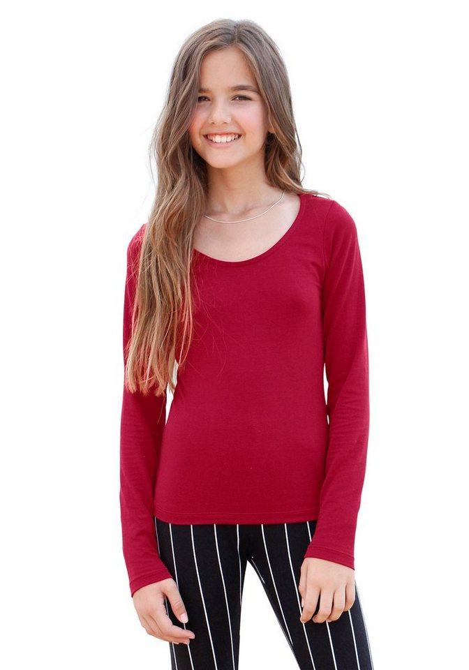 KIDSWORLD Langarmshirt eng anliegend, für Mädchen in Rot