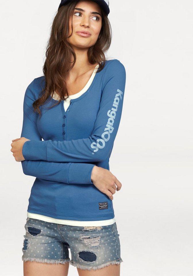 KangaROOS 2-in-1-Shirt mit Logoprint am Ärmel in blau-weiß