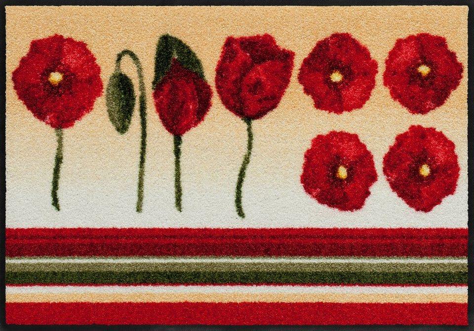 Fußmatte, Salonloewe, »Dancing Poppies«, waschbar, In-/Outdoor mit rutschhemmender Beschichtung in Beige