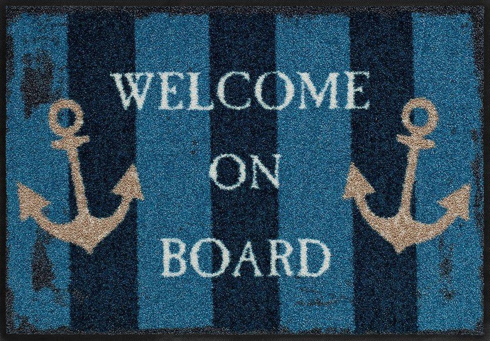Fußmatte, Salonloewe, »Welcome on board«, waschbar, In- und Outdoor geeignet in Blau