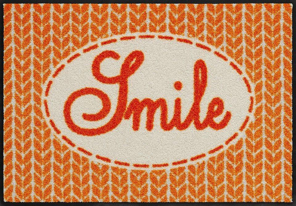 Fußmatte, Salonloewe, »Smile«, waschbar, In- und Outdoor mit rutschhemmender Beschichtung in Orange