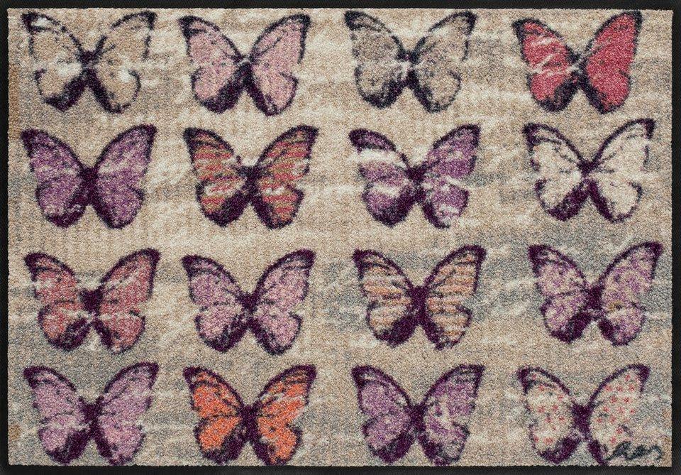 Fußmatte, Salonloewe, »Colorful Butterflies« by Anna Flores, waschbar, In- und Outdoor geeignet in Beige