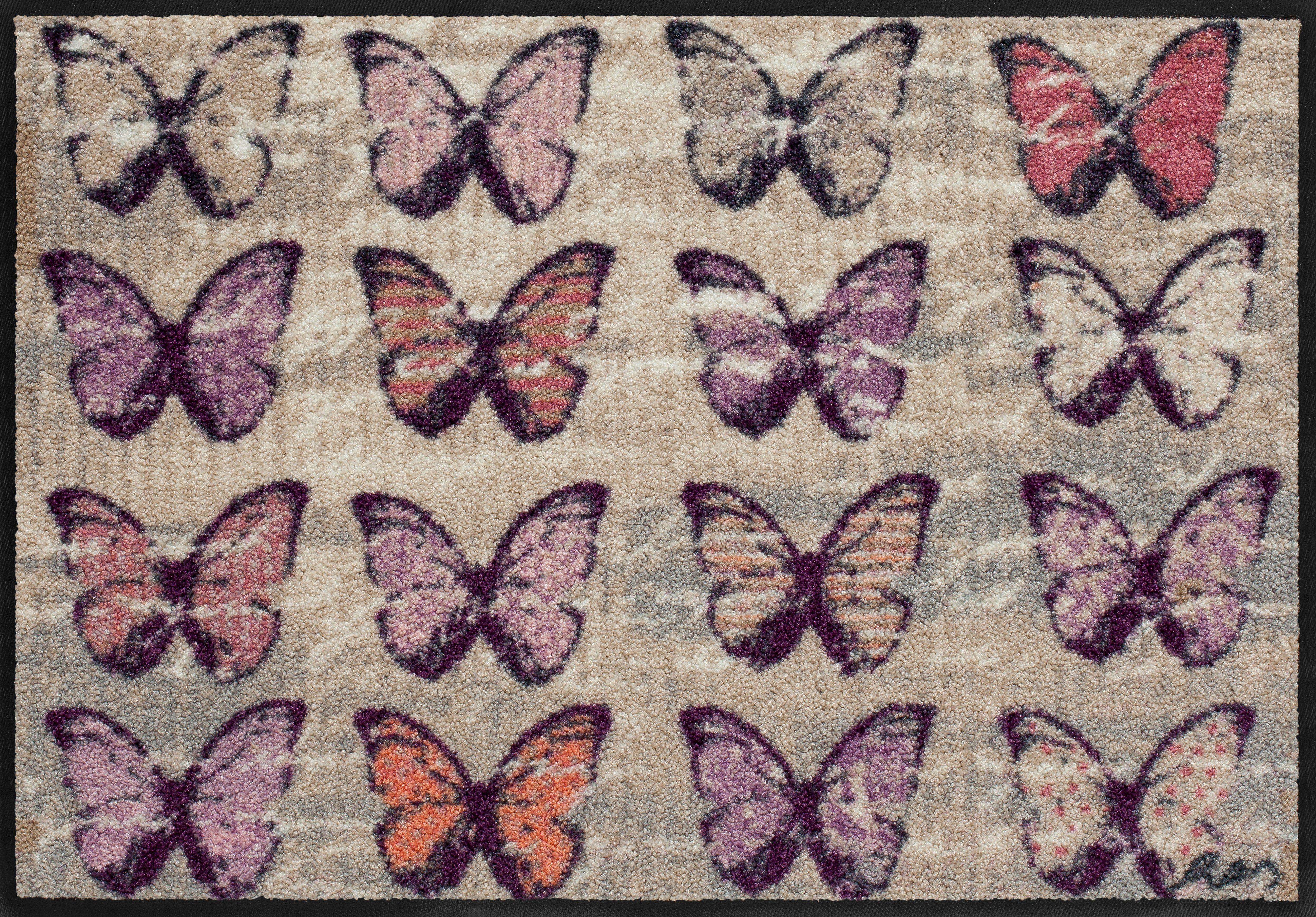 Fußmatte, Salonloewe, »Colorful Butterflies« by Anna Flores, waschbar, In- und Outdoor geeignet