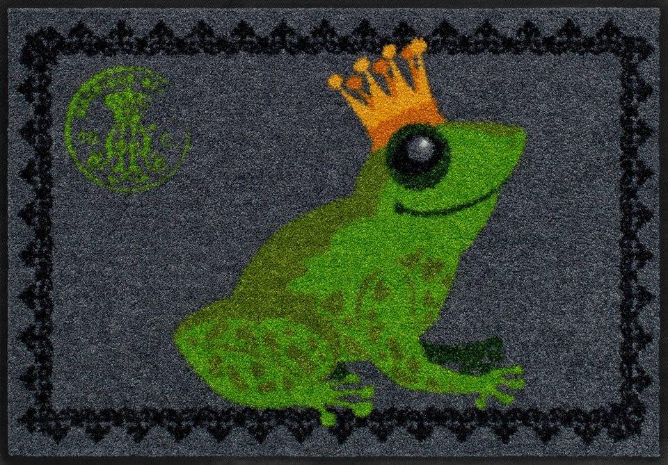 Fußmatte, Salonloewe, »Froschkönig«, waschbar, In- und Outdoor mit rutschhemmender Beschichtung in Grau