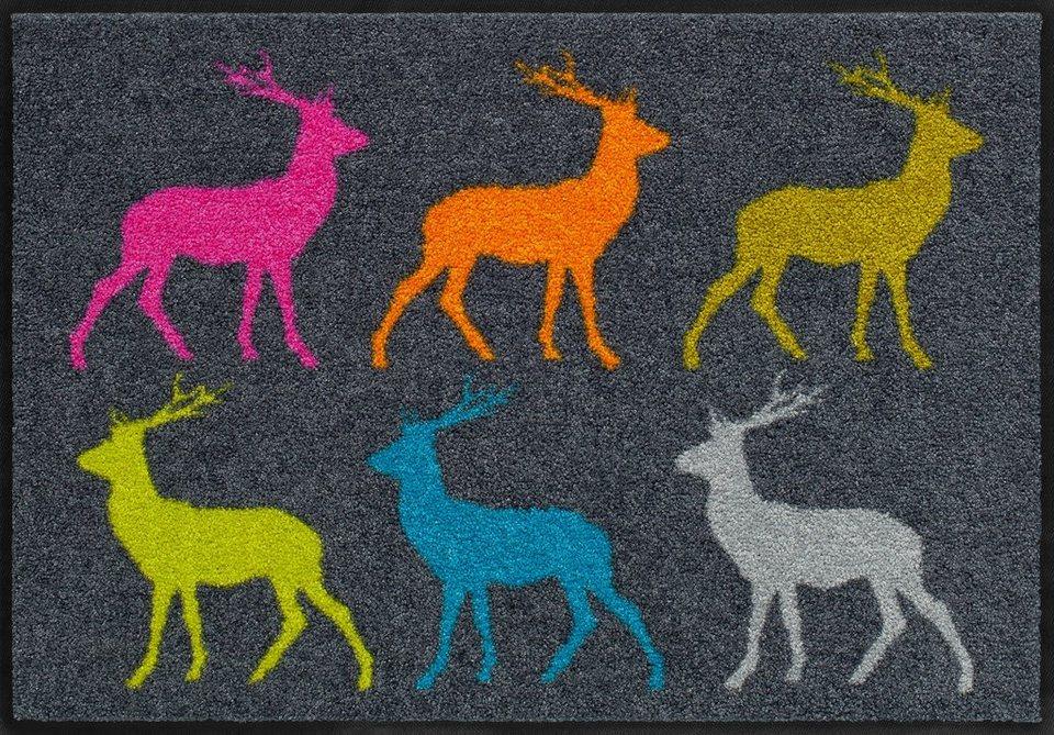 Fußmatte,Salonloewe, »Crossing Deer«, waschbar, In- und Outdoor mit rutschhemmender Beschichtung in Bunt
