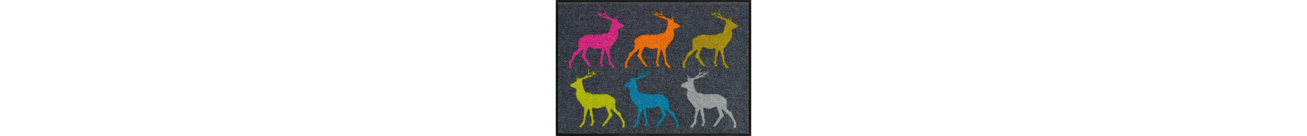 Fußmatte,Salonloewe, »Crossing Deer«, waschbar, In- und Outdoor mit rutschhemmender Beschichtung