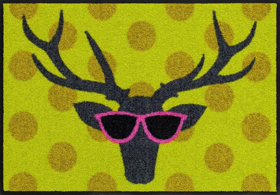 Fußmatte, Salonloewe, »Funky Deer«, waschbar, In- und Outdoor mit rutschhemmender Beschichtung in Bunt
